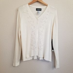 NWT Sag Harbor Ivory Embroidered Cardigan 2X